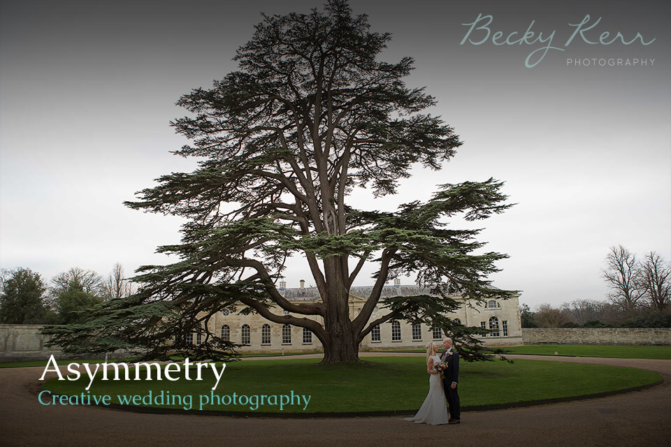 An example of using Asymmetry in creative wedding photography