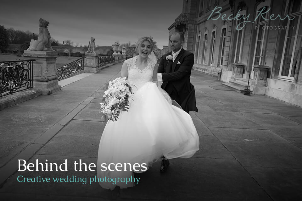 An example of behind the scenes photos in creative wedding photography