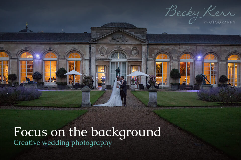 An example of focusing on the background in creative wedding photography