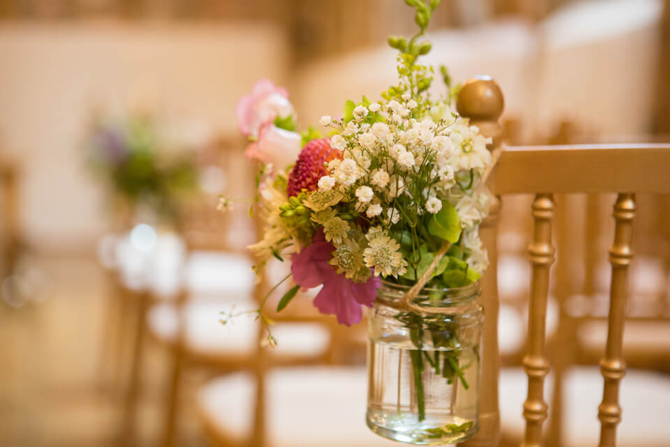 A beautiful wedding flower arrangement