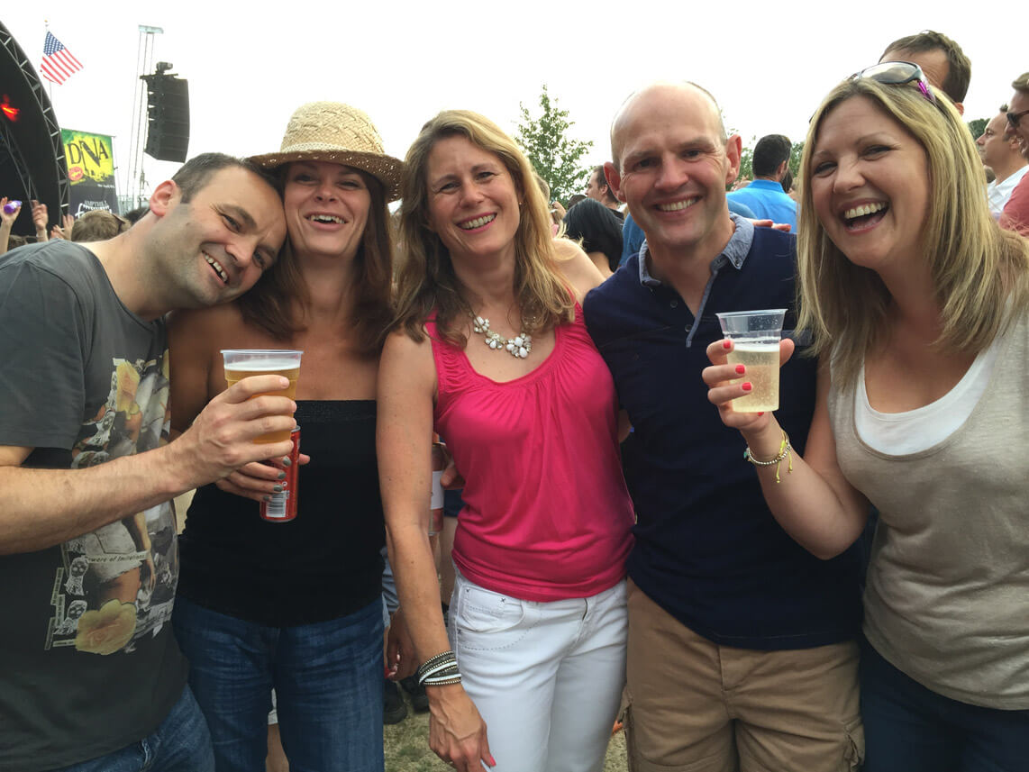 Becky Kerr with friends at a festival