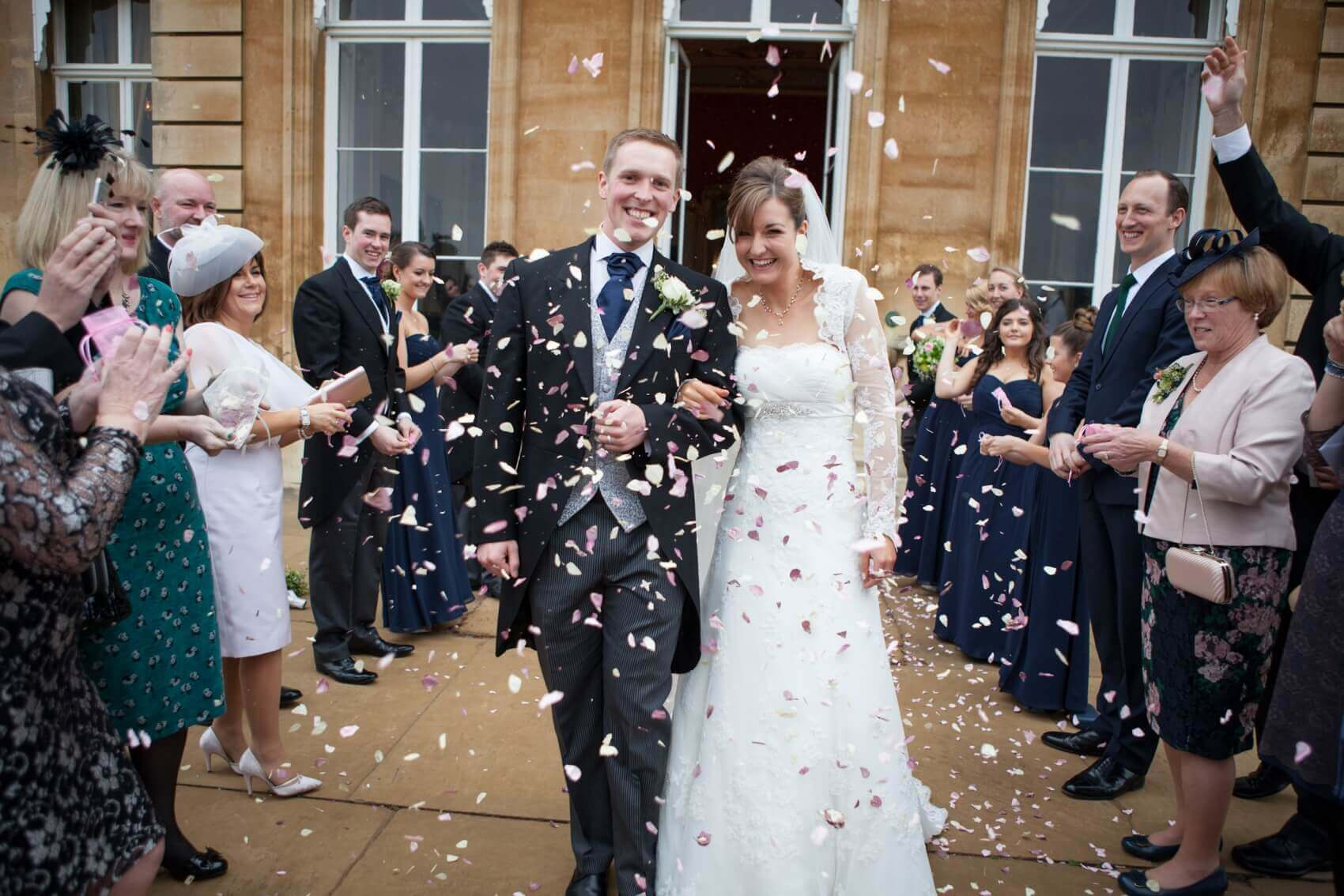 Wrest Park bride and groom with confetti