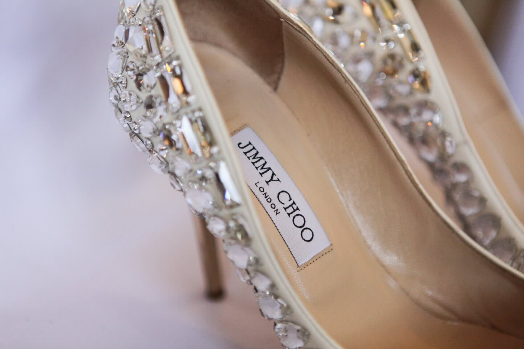 Jimmy Choo wedding shoes at The sculpture Gallery Woburn