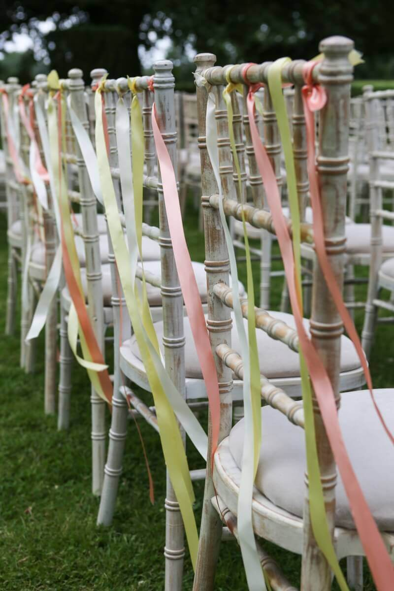 Ribbons on wedding ceremony chairs