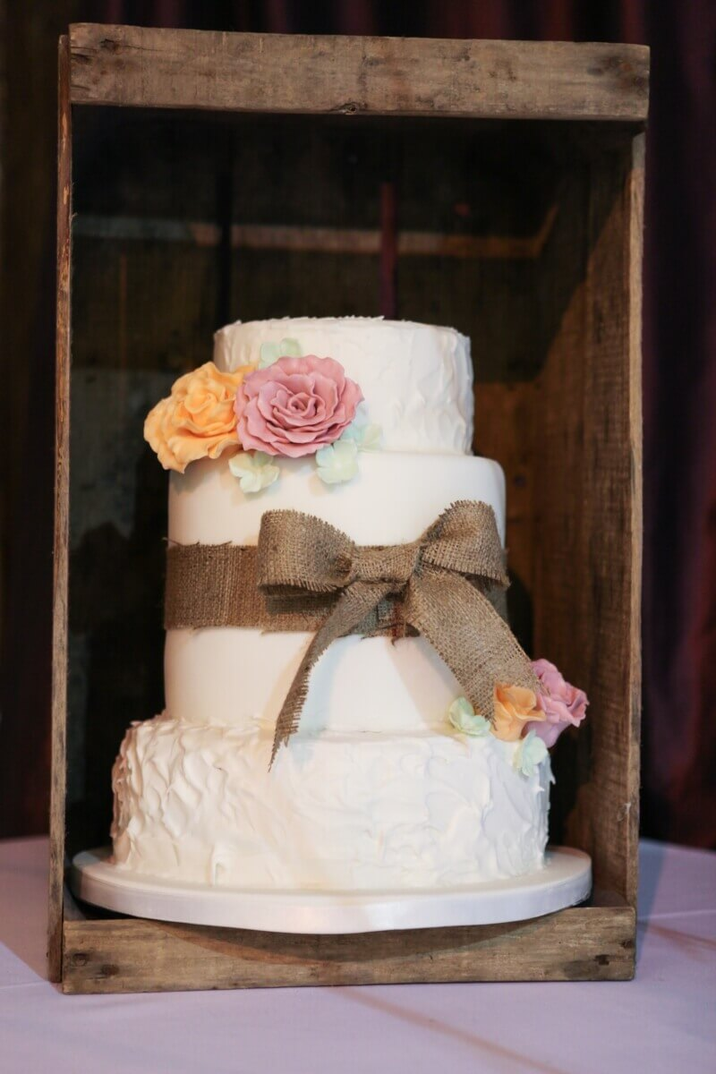 Wedding cake at the Barns Hotel in Bedfordshire