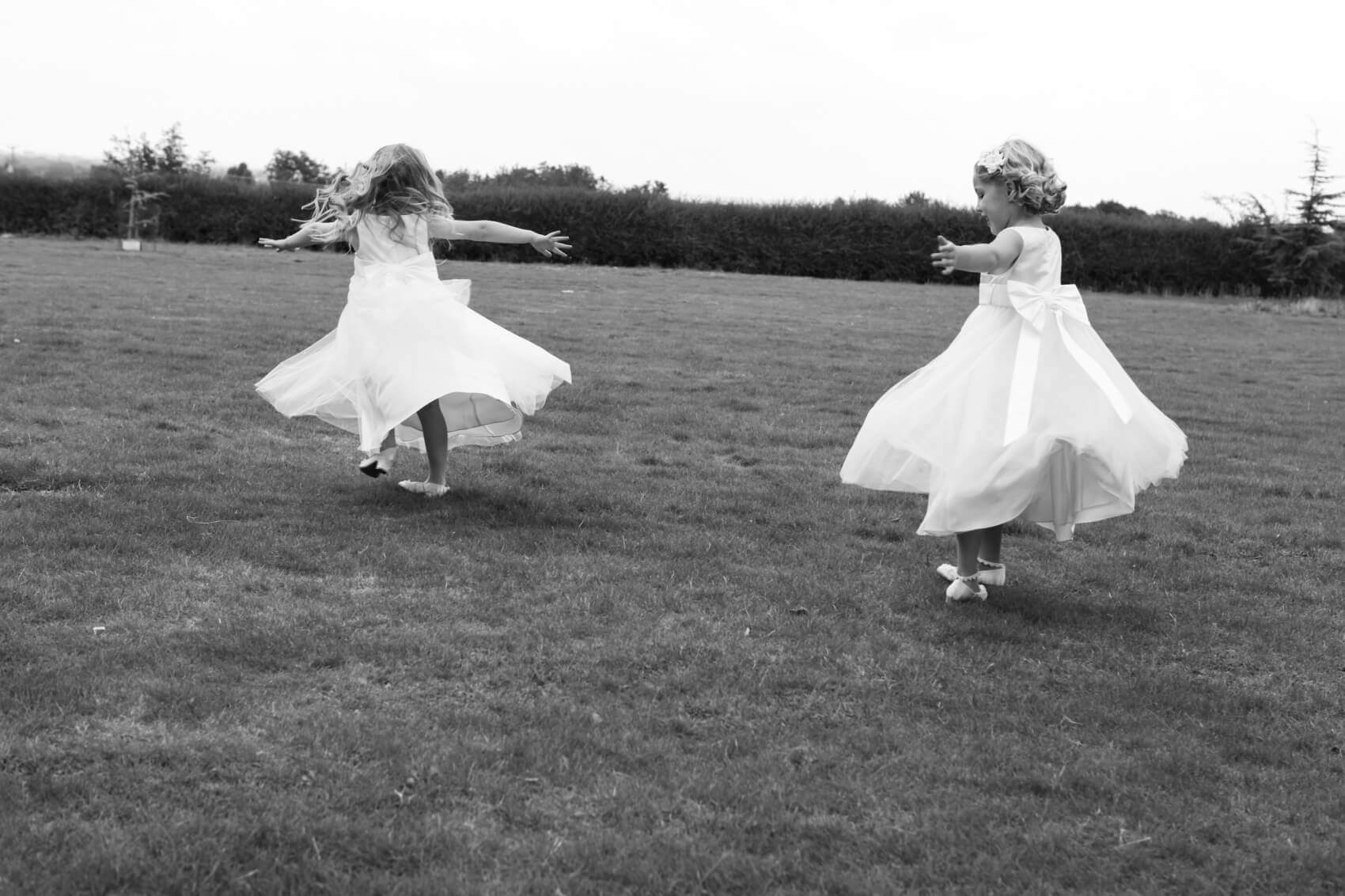 Flower girls dancing outside